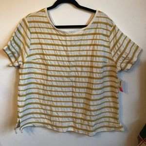 Brand New with Tags Cream & Yellow Striped XL Tee